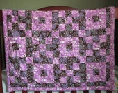 """Purple Owl and Songbird 32"""" x 34"""" Baby Quilt"""