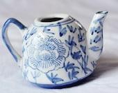 Vintage Blue and White Ceramic Creamer Floral Pattern