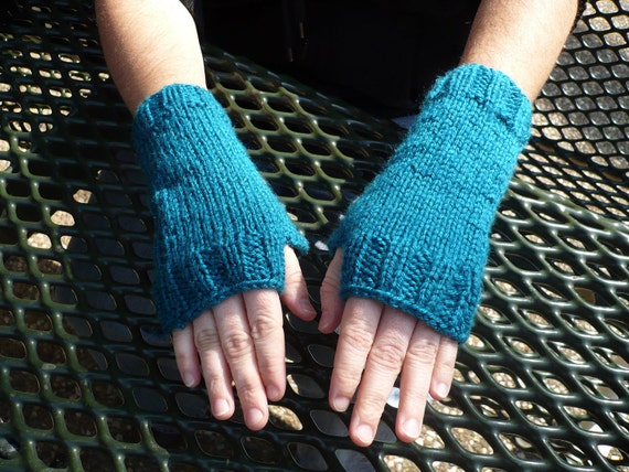 Teal Fingerless Gloves