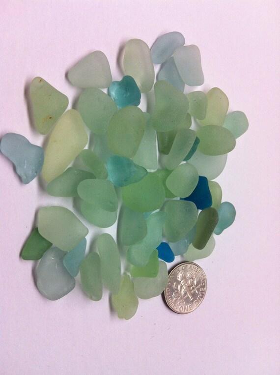 Tiny Aqua Blue and Green Sea Tumbled Beach Glass (lot 150)