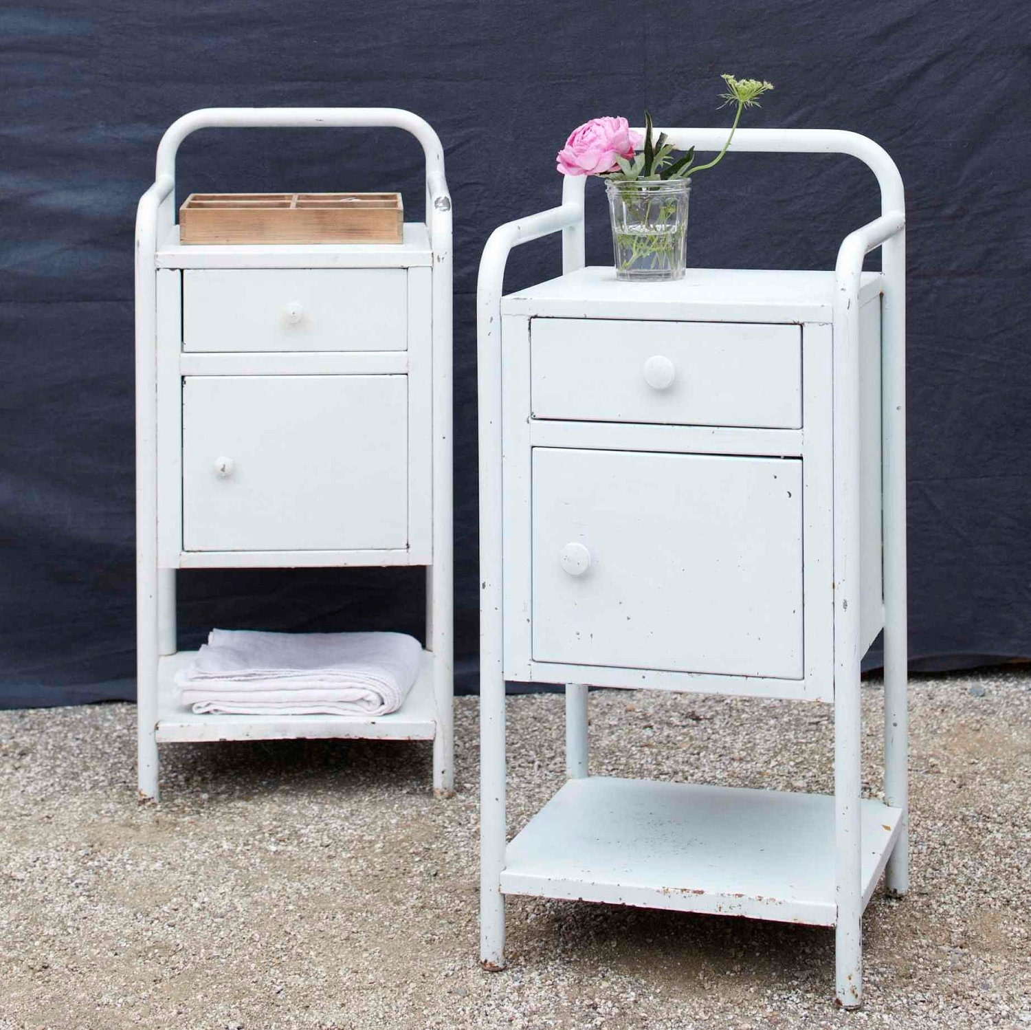 Cute Vintage Metal Bedside Table