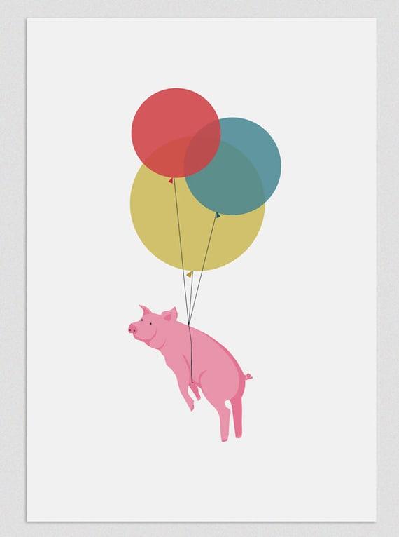Illustration. Flying pig. Print. Wall art. Art decor. Hanging wall. Printed art. Decor home. Gift idea. Sweet home. Tutticonfetti.