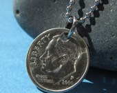 Dime Necklace or Key Chain - USA Coin Charm