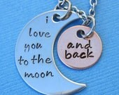 I Love You to the Moon and Back Necklace with Lobster Clasp - Mommy Necklace Valentine's Day Anniversary Birthday Wedding Mother's Day