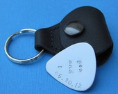 Personalized Father's Day Guitar Pick w/ Leather Key Chain Holder Custom Guitar Pick - I Pick You Valentine's Day Wedding Gift