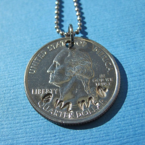 Personalized Custom Coin Necklace or Key Chain - Hand Stamped USA Coin Charm