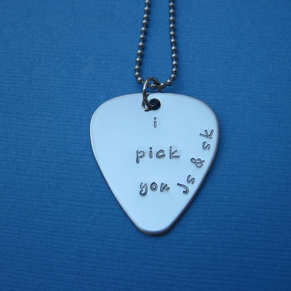 Custom Guitar Pick Necklace Personalized Guitar Pick Music Lover Stainless Steel Guitar Pick - Valentine's Day Anniversary Gift Wedding Gift