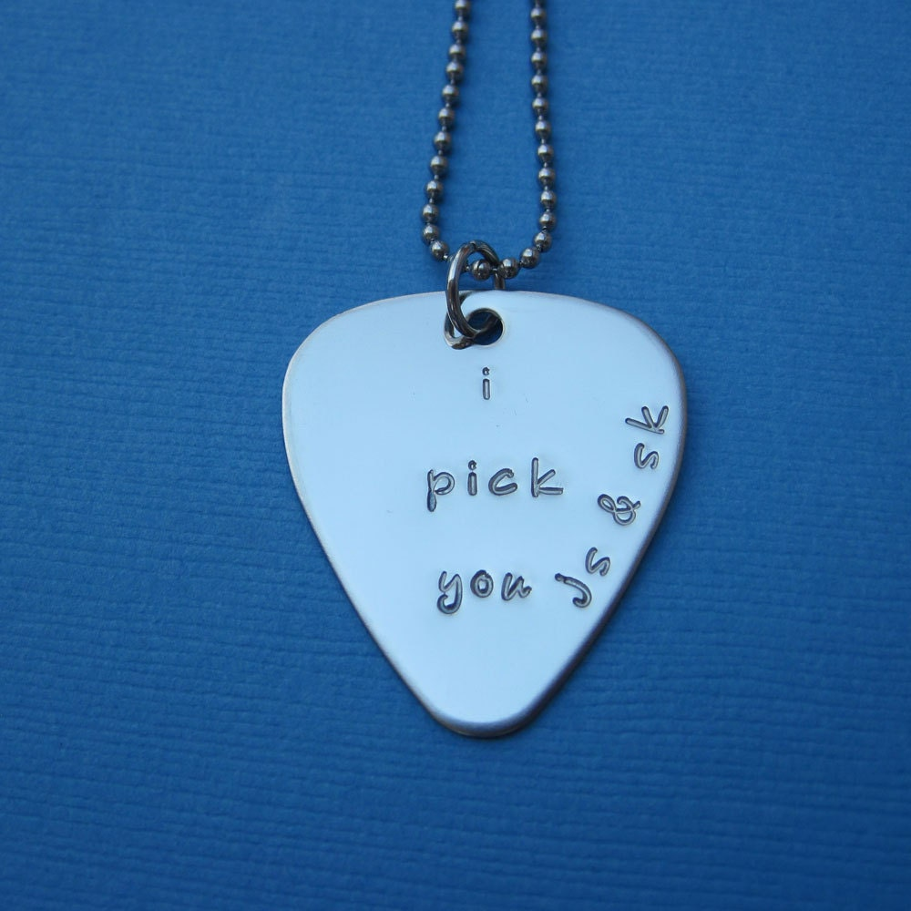 custom guitar pick necklace personalized guitar pick music