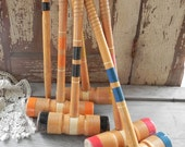 vintage wooden croquet mallets