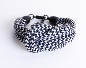 Black & white cotton rope with zig zag pattern