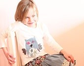 Twirl skirt, apron front twirl skirt, Girls skirt, Owl top and skirt set, Back to school outfit,