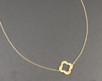 Clover 14K gold filled necklace-simple everyday jewelry