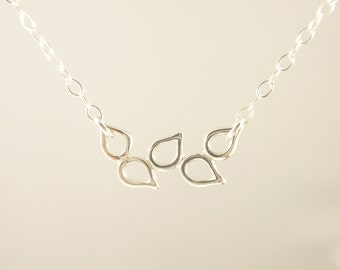 Olive branch  Sterling silver necklace-simple everyday jewelry