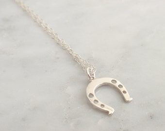 SALE - Horseshoe Sterling silver necklace-simple everyday jewelry