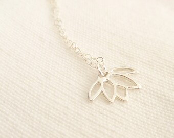 Lotus flower Sterling silver necklace-simple everyday jewelry