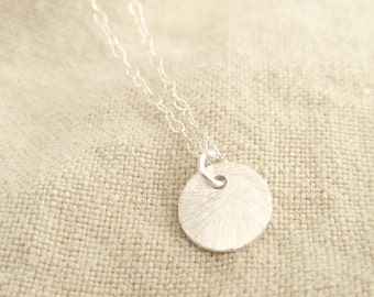 Brushed Circle Disc Sterling silver necklace-simple everyday jewelry