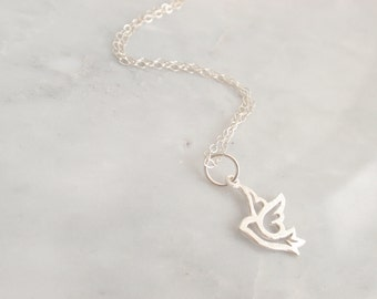 Dove of Peace Bird Sterling silver necklace-simple everyday jewelry