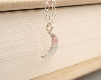 SALE- Tiny Moon Sterling silver necklace-simple everyday jewelry