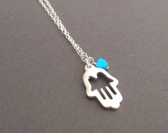 Hamsa hand Sterling silver necklace-simple everyday jewelry