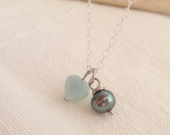 Amazonite & pearl Sterling silver necklace-simple everyday jewelry