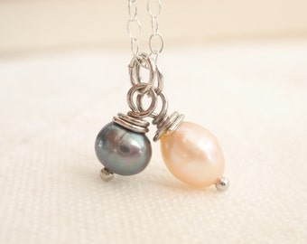 Mix pearls Sterling silver necklace-simple everyday jewelry