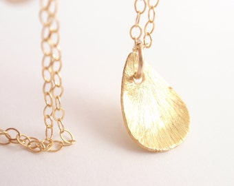 Brushed Teardrop 14K gold filled necklace-simple everyday jewelry