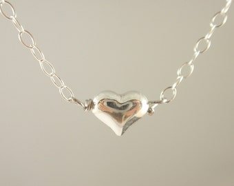 Tiny puffed Heart Sterling silver necklace-simple everyday jewelry