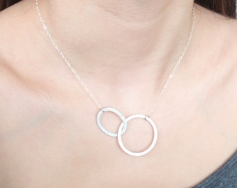 Double ring Infinity Sterling silver necklace-simple, stylish jewelry