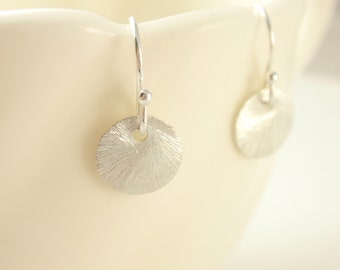 Brushed Disc Sterling silver earrings-simple everyday jewelry