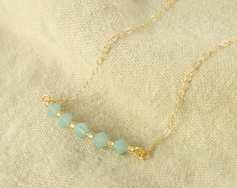 Crystal line- Pacific Opal crystal 14K gold filled necklace-simple everyday jewelry