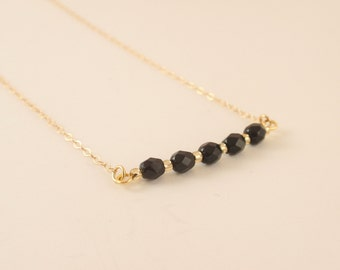 Black glass beads 14K gold filled necklace-simple everyday jewelry