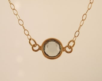 Tiny point black dia crystal 14K gold filled necklace-simple everyday jewelry