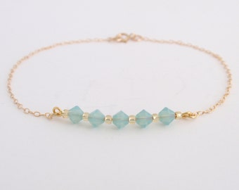 Crystal line- Pacific Opal crystal 14K gold filled Bracelet-simple everyday jewelry