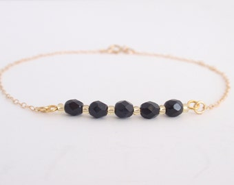 Black glass beads 14K gold filled Bracelet-simple everyday jewelry