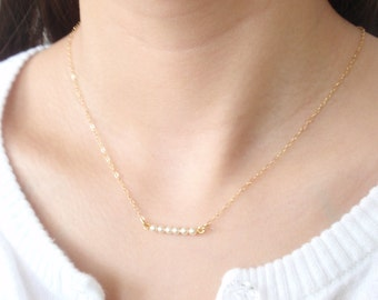 Tiny Pearls 14K gold filled Necklace-simple everyday jewelry