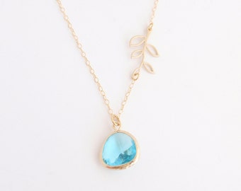 Aqua Framed Glass Pendant and Leaf Branch necklace - with 14K gold filled chain-simple everyday jewelry