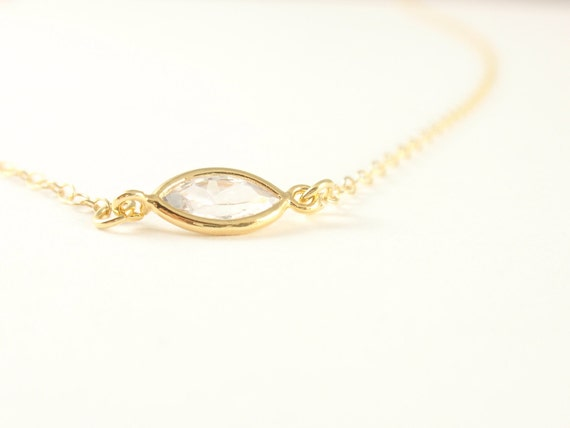 Cubic Eclipse 14K gold filled necklace-simple everyday jewelry