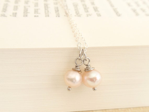 Twin fresh water pearls Sterling silver necklace-simple everyday jewelry
