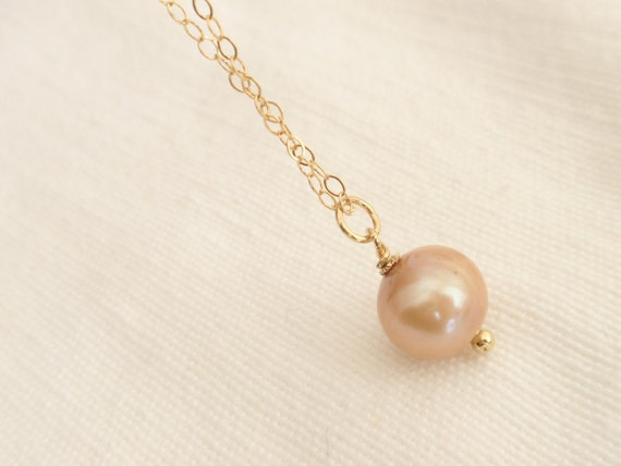 Solo Sand Color Fresh Water Pearl 14K gold filled necklace-simple everyday jewelry