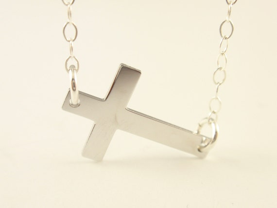 Sideway Cross necklace-with sterling silver chain-simple everyday jewelry