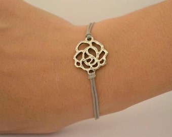 Stocking stuffer, rose bracelet, cord bracelet with silver plated rose charm, gray bracelet, elegant stack bracelet, minimalist jewelry