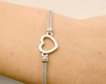 Friendship bracelet, heart bracelet, silver heart charm, gray cord bracelet, minimalist jewelry, gift for her, love bracelet, dainty
