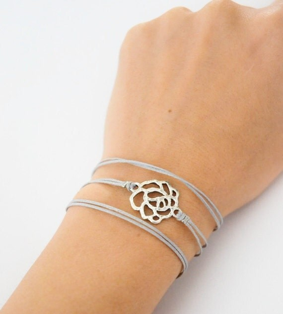 Cord wrap bracelet, cord bracelet with a silver rose charm, gray string, elegant rose bracelet, minimalist jewelry, mother's day gift