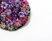 Embroidery brooch. Fiber jewelry. Fabric jewelry.