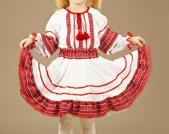 Ukrainian Children's Dress embroidery. For girls. embroidery red