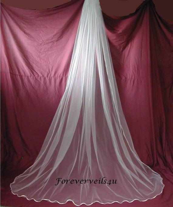 Ivory 1 Tier Cathedral Wedding Bridal Veil Satin Edge