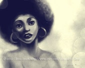 70's Vintage Afro American painting or straight hair painting 11x17 Print