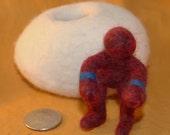 White Felt Egg with Dark Red Figure