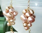 SALE ITEM Pink pearl earrings, gold jewelry, gemstone jewelry OOAK