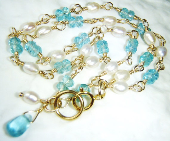 RESERVED -  Apatite and pearl gemstone bracelet gold jewelry OOAK